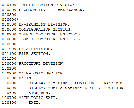example of cobol code like i have written things from my 40 year