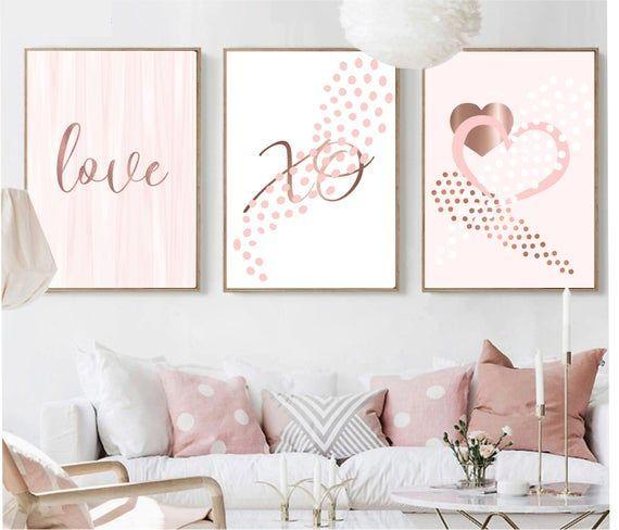 Printable Wall Art Set Of 3 Digital Prints Love Rose Gold Pink Etsy Wall Printables Printable Wall Art Room Wall Decor