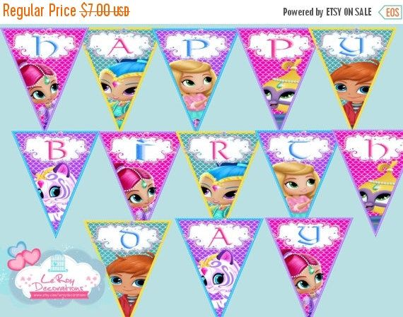 On Sale 15 Off Shimmer And Shine Birthday Banner Shimmer And Shine Birthday Decoration