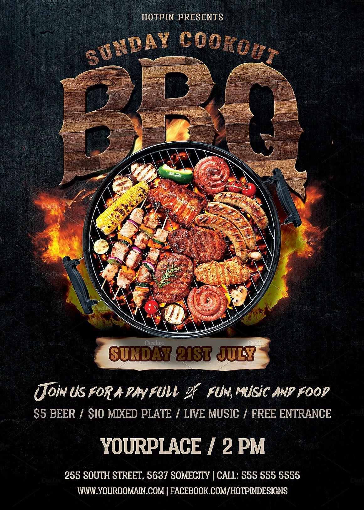 Barbecue Bbq Flyer Restaurant Poster Food Poster Bbq Menu