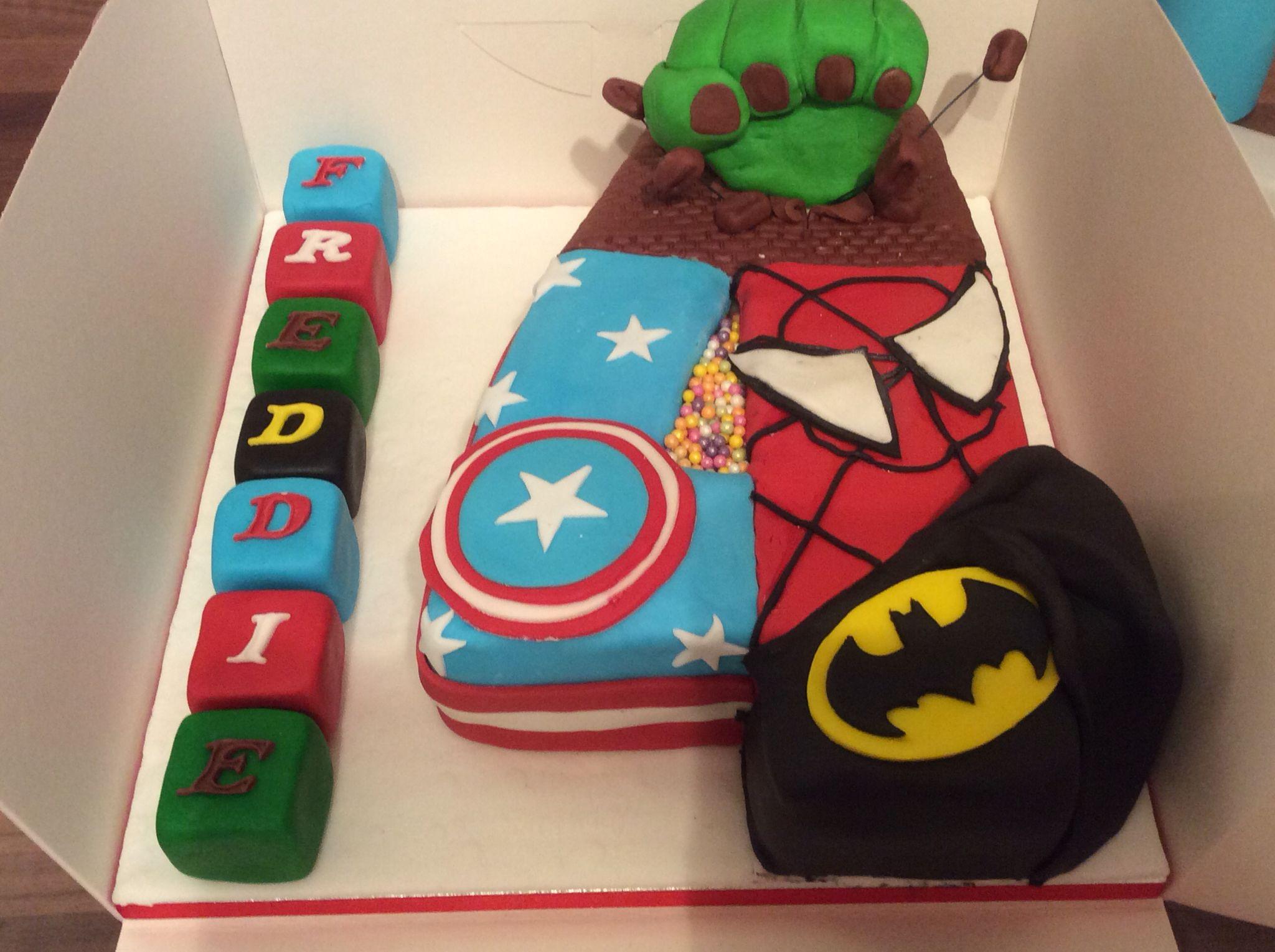 No 4 marvel birthday cake 4th birthday ideas Pinterest Marvel