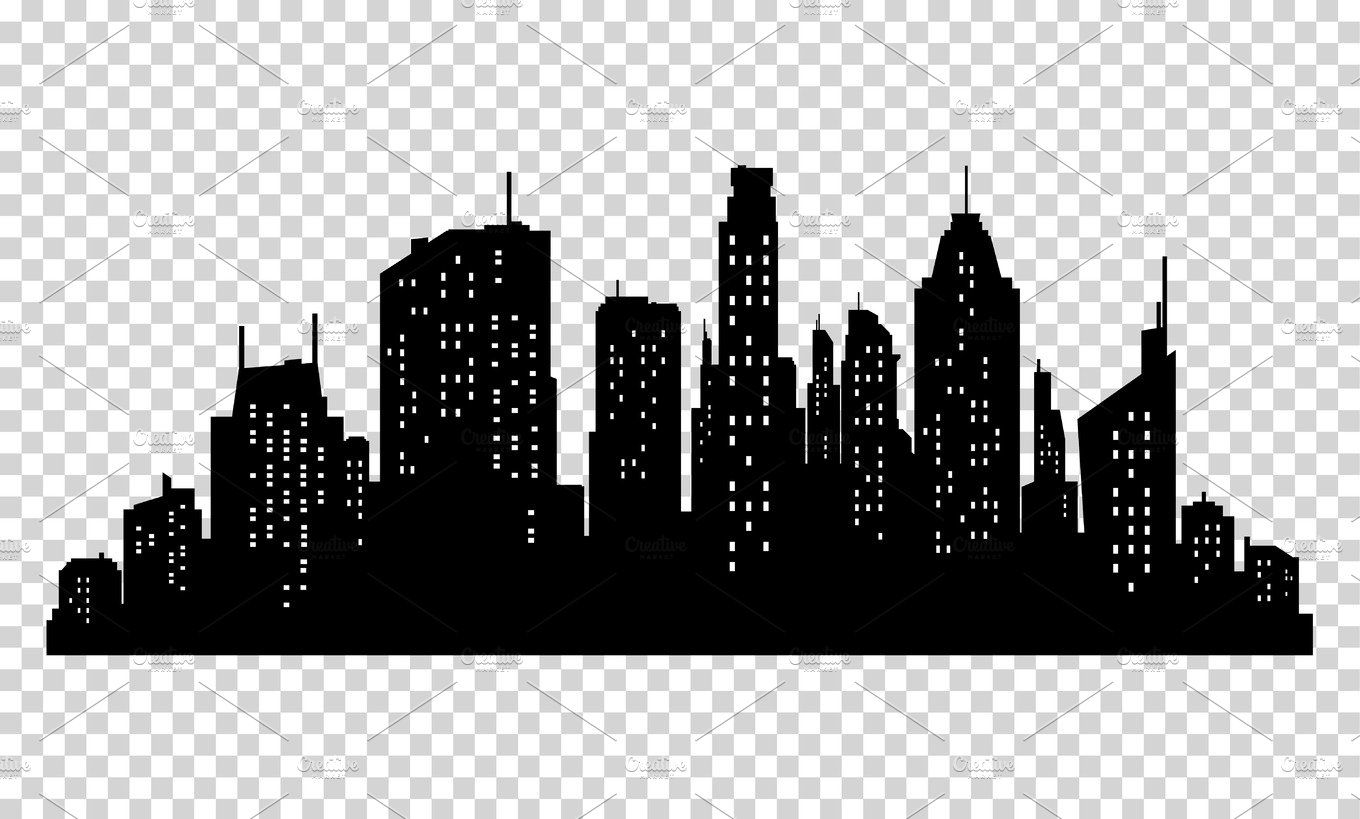 Set Of Vector City Silhouette And Elements For Design City Silhouette City Icon Silhouette