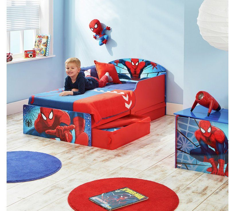 Buy Spider Man Toddler Bed With Drawers Multicoloured Kids