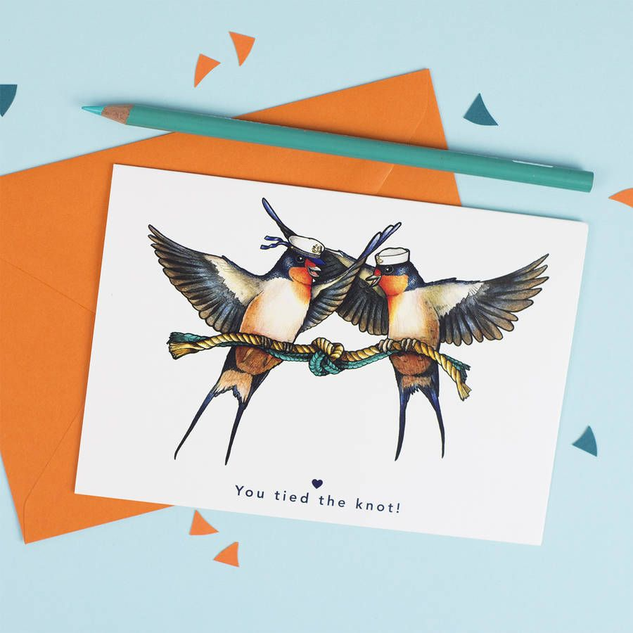'You Tied The Knot' Swallow Couple Wedding Card