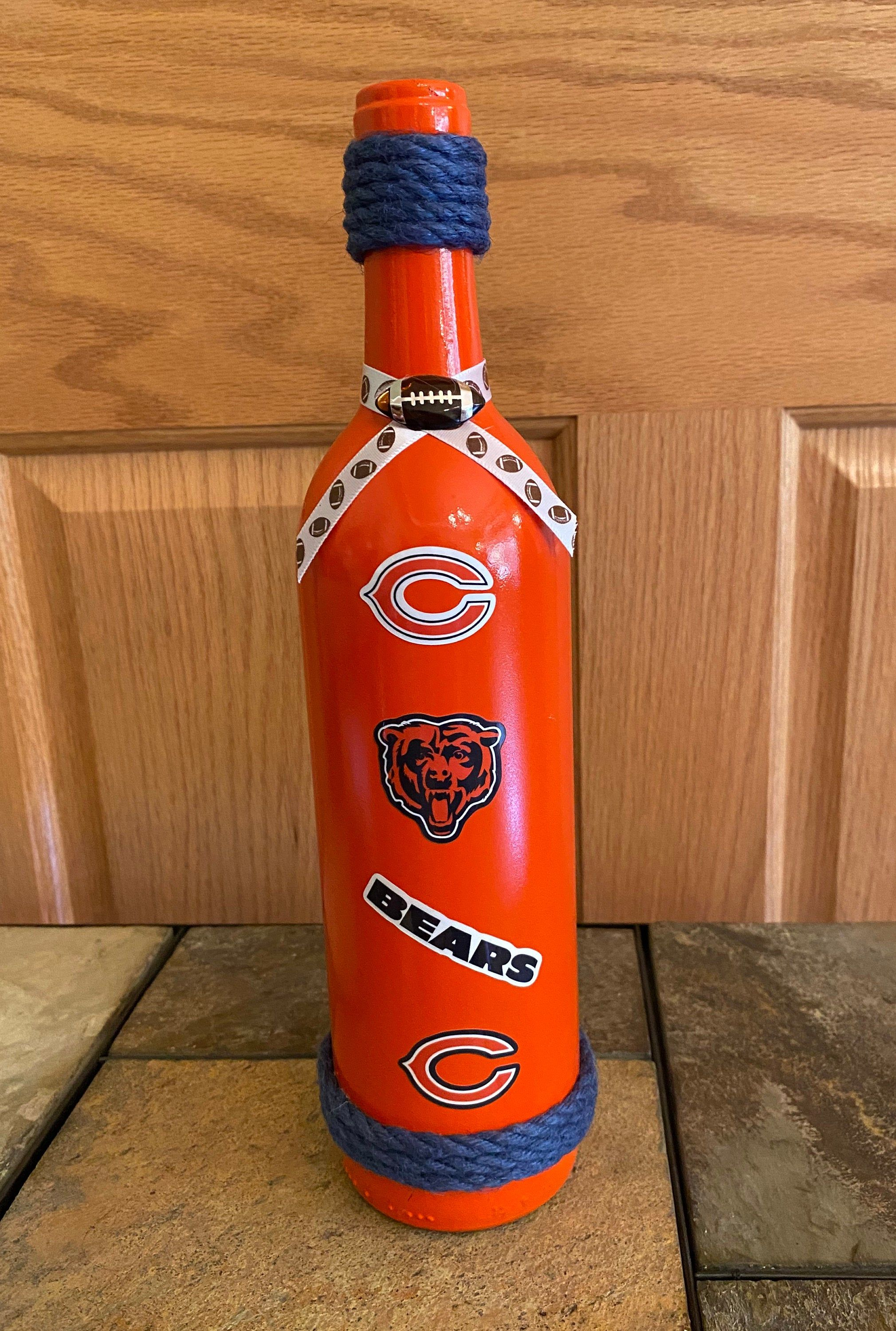 Chicago Bears Upcycle Wine Bottle Etsy In 2020 Wine Bottle Bottle Wine Bottle Centerpieces