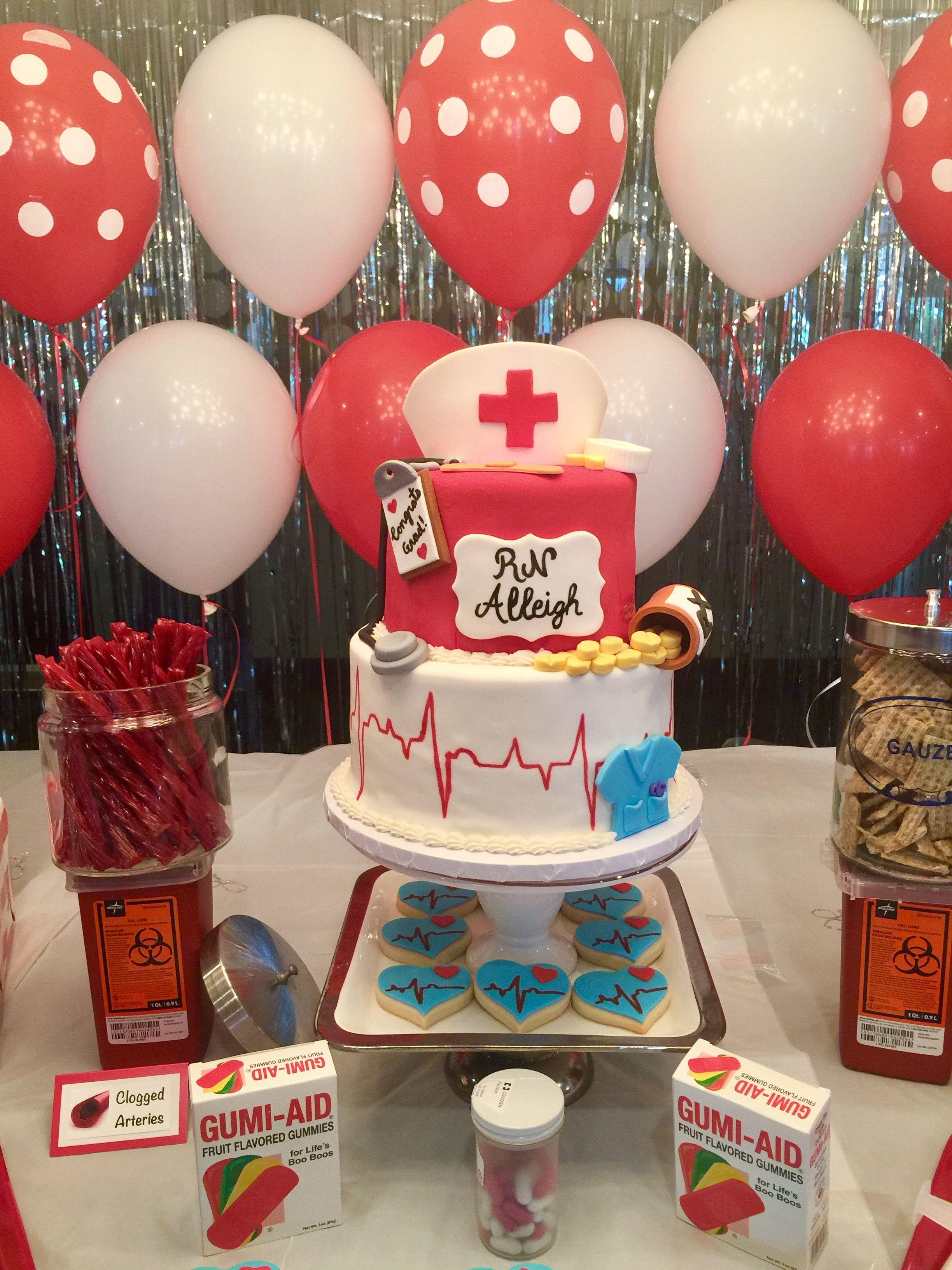 Nurse graduation party doctor decorations designed by meaghan marie also rh pinterest
