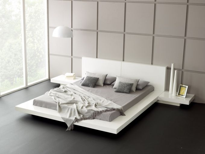 Japanese Style Platform Bed White Bed Frame Smooth Grey Cushion