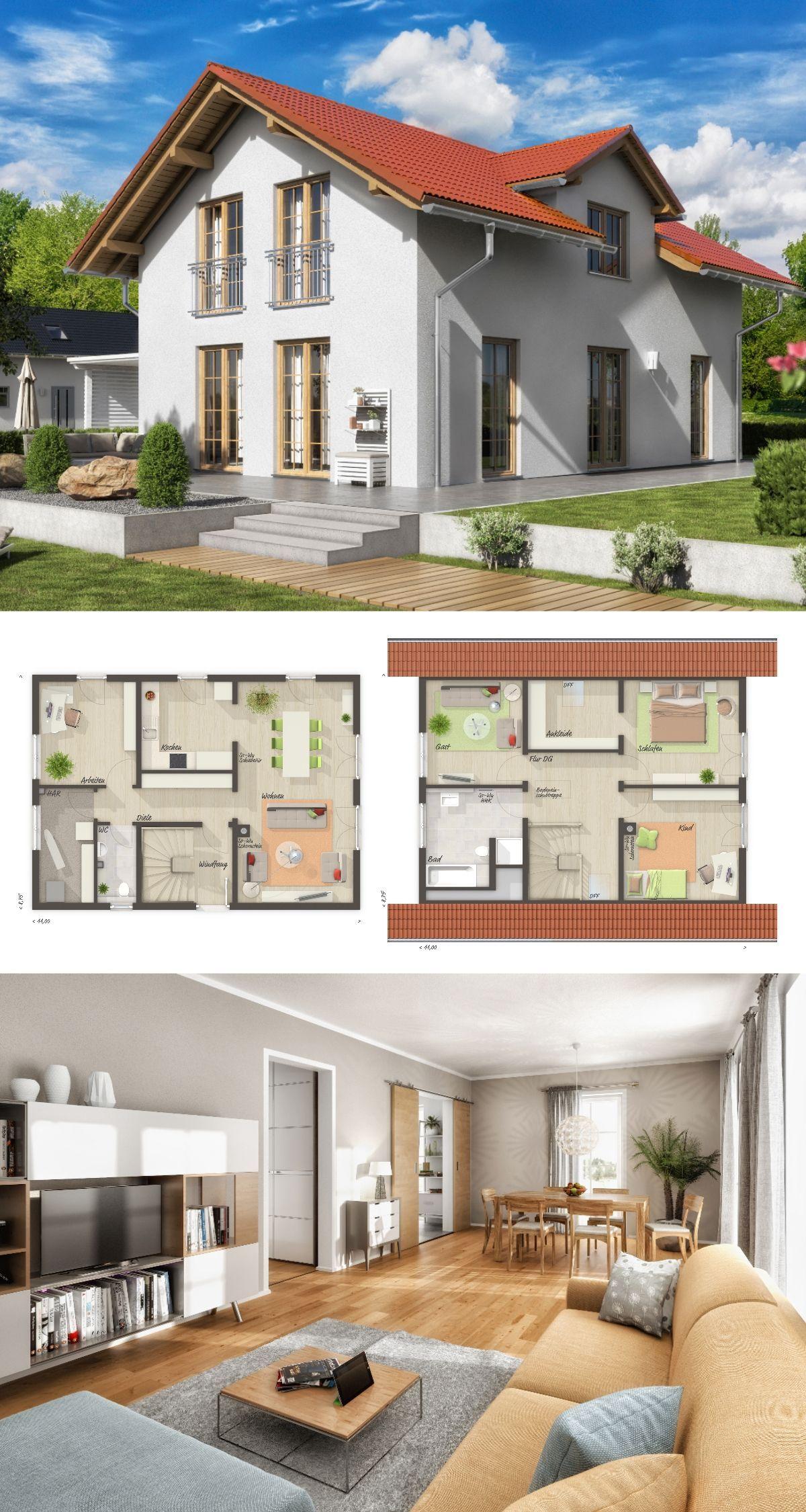 Modernes alpenstil haus grundriss mit satteldach for Modernes einfamilienhaus grundriss