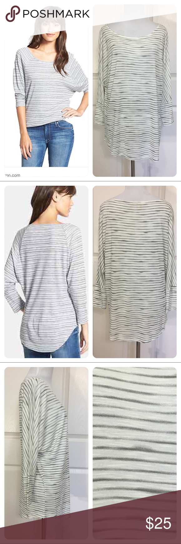 Soft Joie Naina Heather Grey Stripe Viscose Top Soft Joie Naina Heather Grey Stripe Dolman Sleeve Viscose Top.  Artfully imprecise stripes relax a fluid, knit pullover styled with a bateau neckline and three-quarter dolman sleeves. 100% viscose. Hand wash cold, dry flat. Small mark on back of shirt. Light wear. Joie Tops