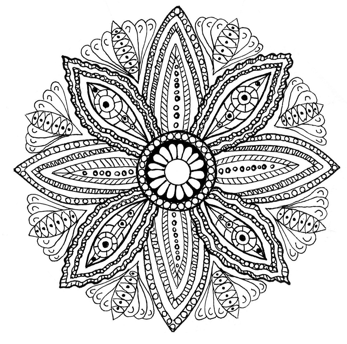 Mystical mandala coloring pages - Drawing Of A Mandala With Leaves From The Gallery Mandalas Coloring Pages