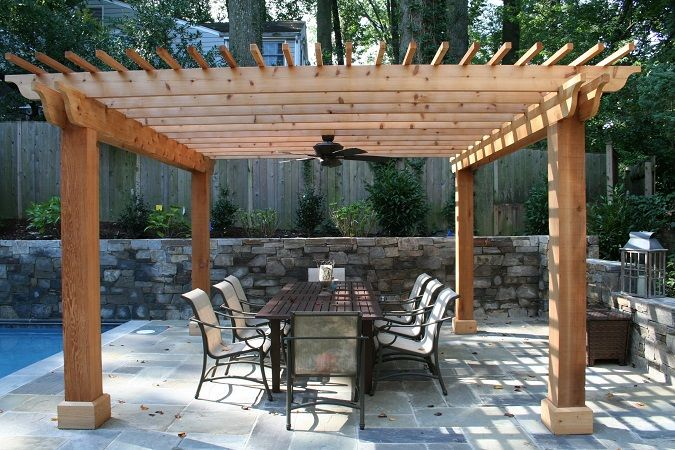 Cedar Pergola With Square Columns And Ceiling Fan In