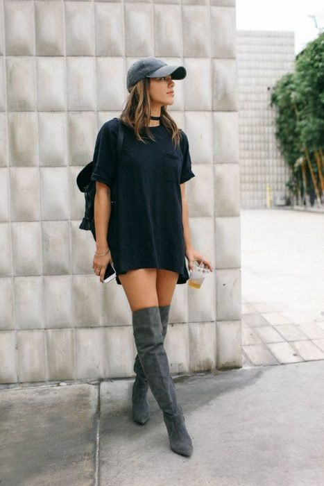 Looks con gorra bluson negro botas gris muslo gorra gris mochila street  style 8346433d7f0