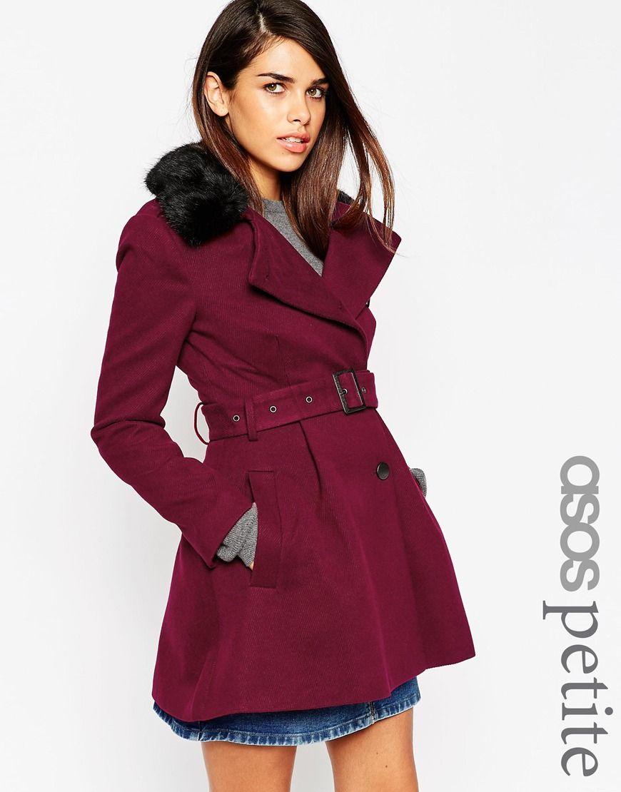 Asos Petite Skater Coat With Faux Fur Collar At Asos Com Faux Fur Trench Coat Petite Coat Asos Coat [ 1110 x 870 Pixel ]