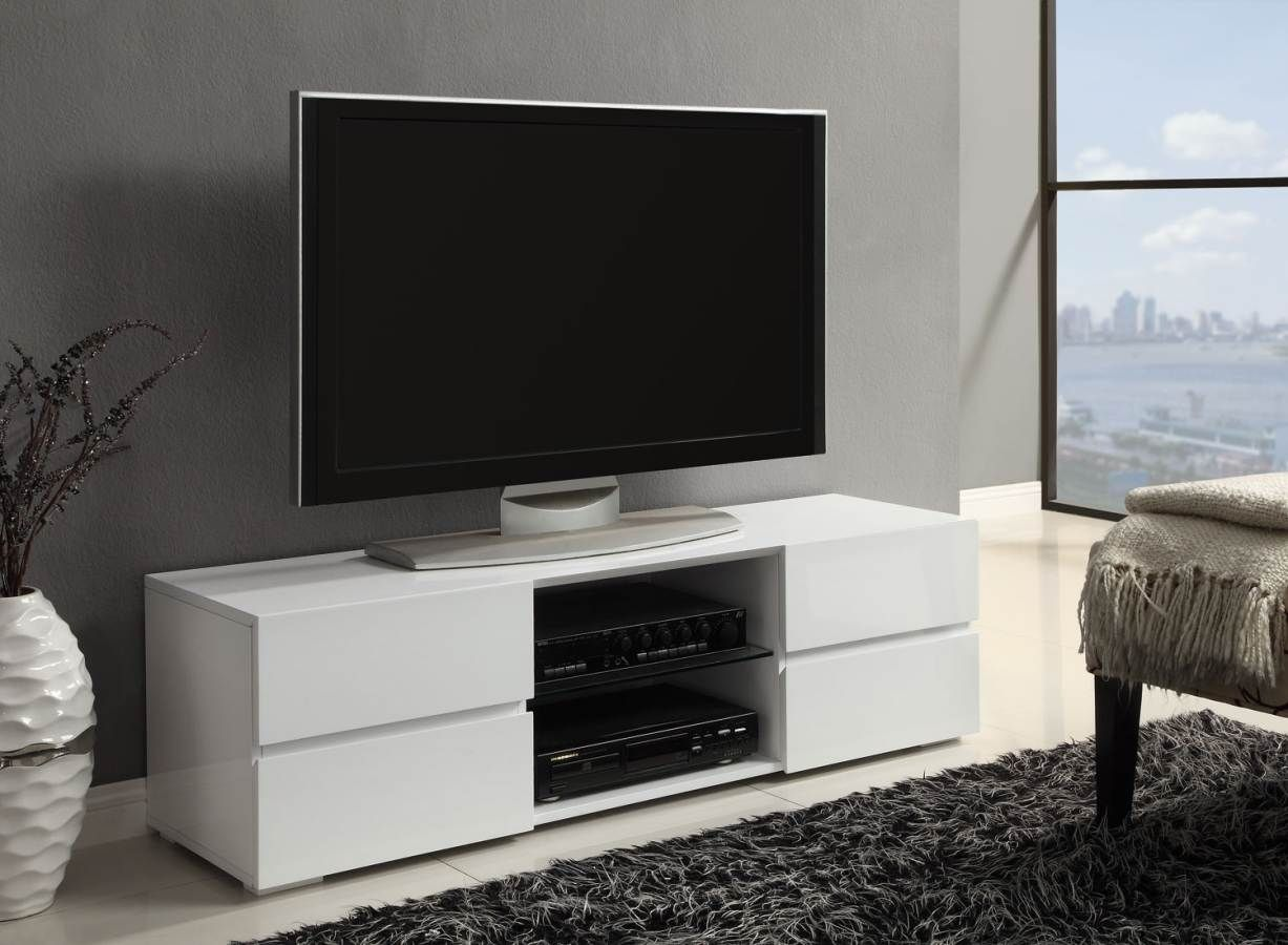 Evoque Geometric Tv Unit In White High Gloss With Touch Open  # Meuble Bas Tv But