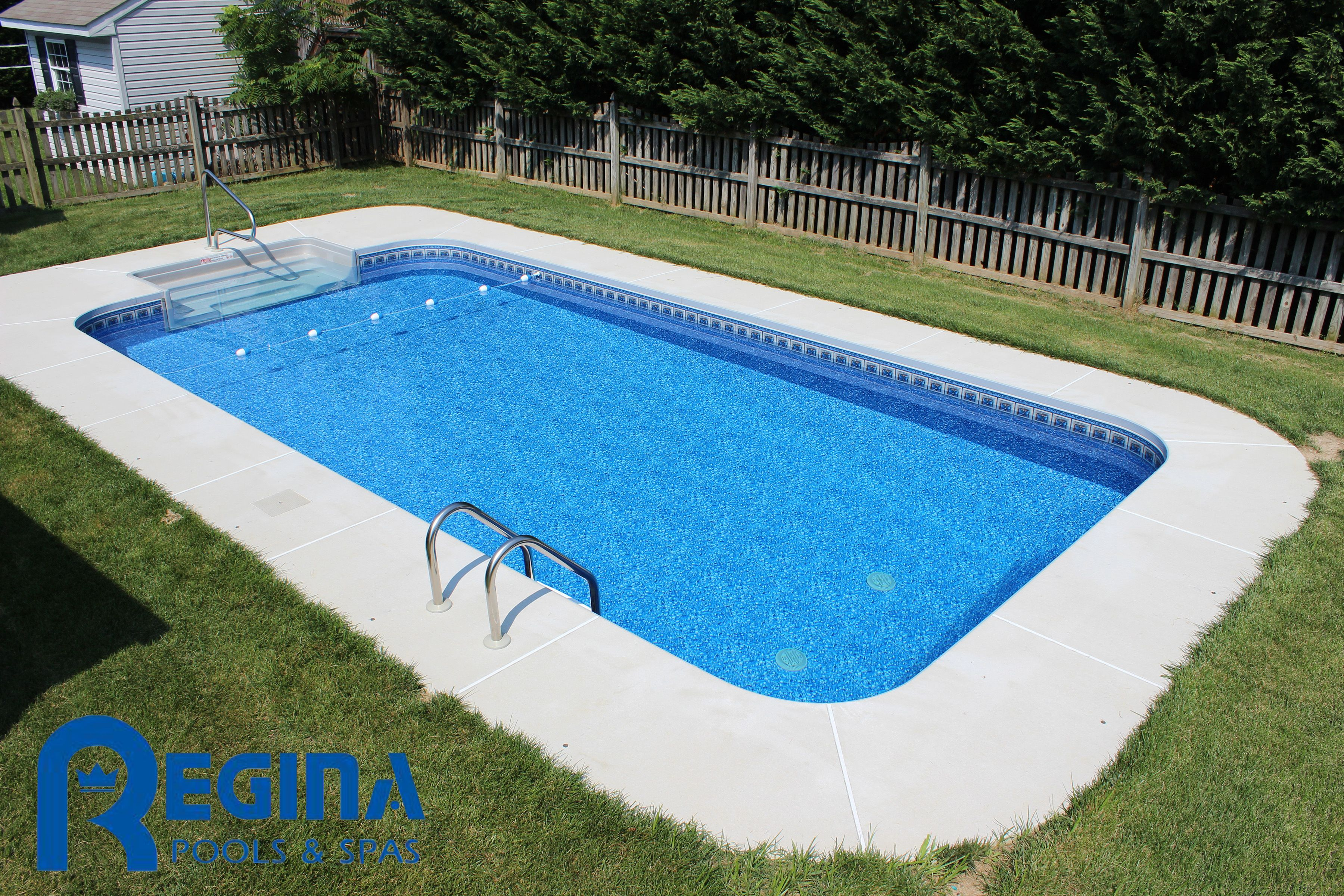 Rectangle shaped vinyl liner swimming pool located in perry hall md baltimore county http for Swimming pools in baltimore county