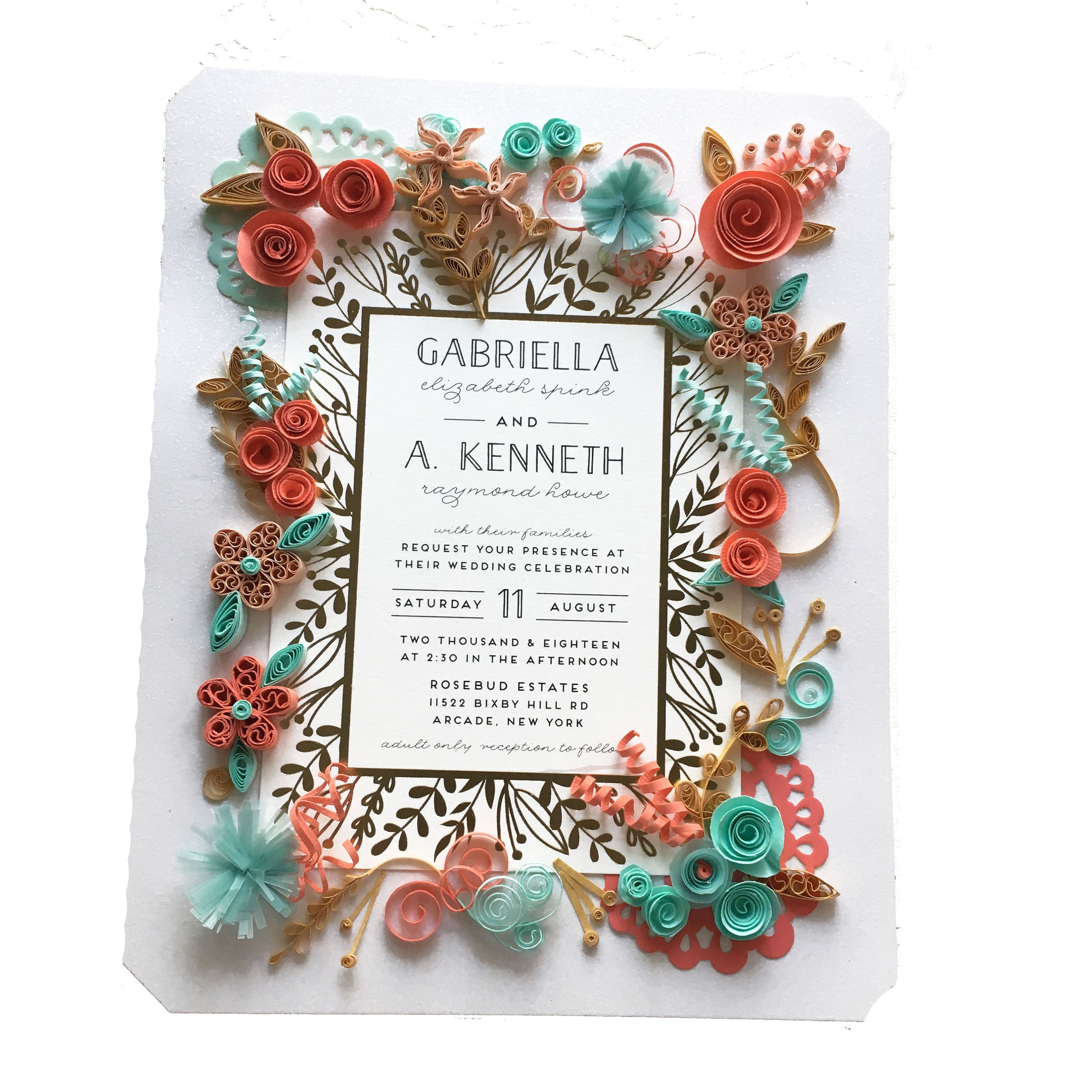 Coral And Turquoise Wedding Invitation Keepsake Gift For