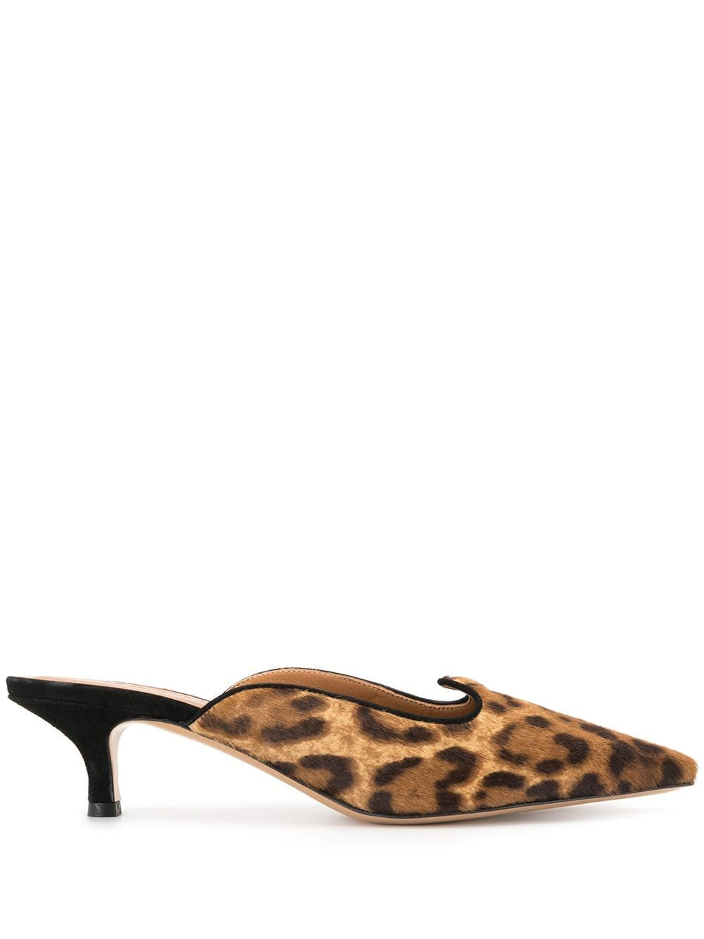 Brown leather leopard print kitten heel mules from Le Monde Beryl featuring a pointed toe, a slip-on style, a leather insole, suede panels, a leopard print and a low heel.