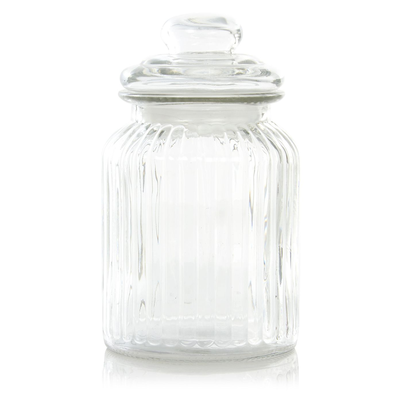 George Home Large 980ml Ribbed Glass Jar Kitchen Storage Asda
