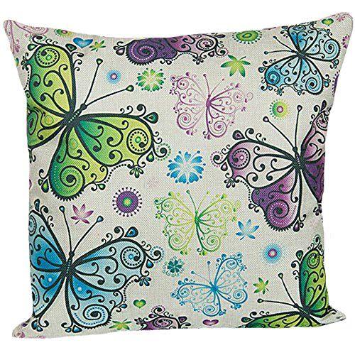Butterfly Printing Cushion Cover LIFECREATIVE Linen Cotton Throw Pillow Case Sham Pattern Zipper Pillowslip Pillowcase For