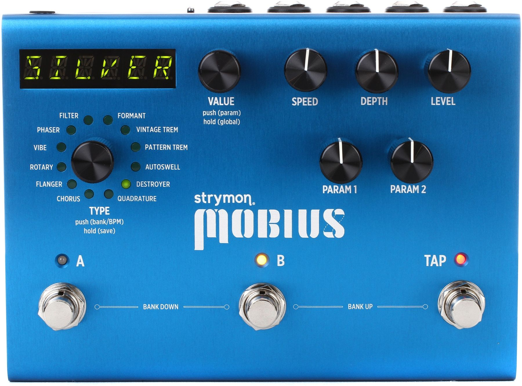 Multi-effects Modulation Pedal with 12 Modulation Types, 200 Presets, 3 Footswitches, and MIDI
