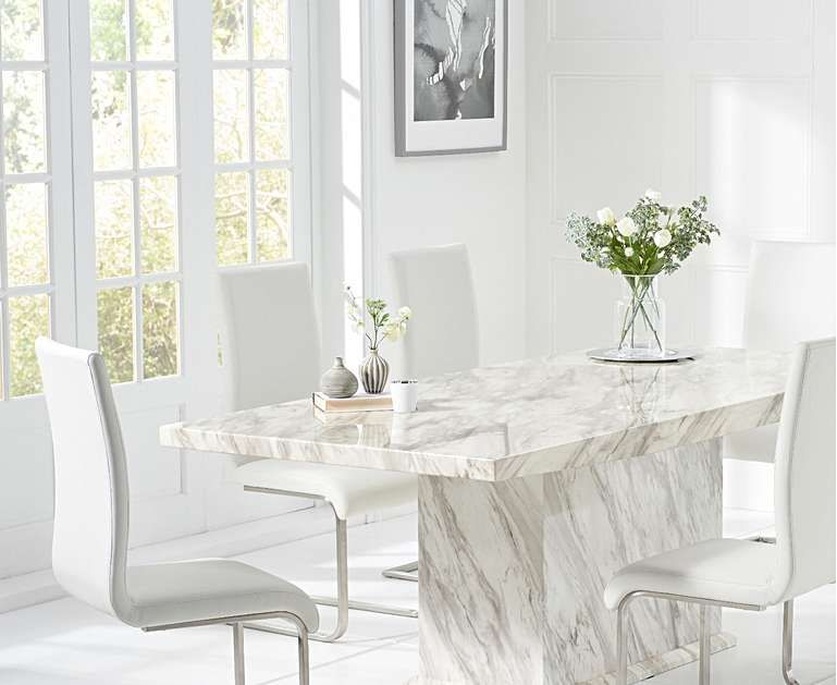 Calacatta 160cm Marble Dining Table With Malaga Chairs Dining Table Marble Dining Table Faux Leather Dining Chairs