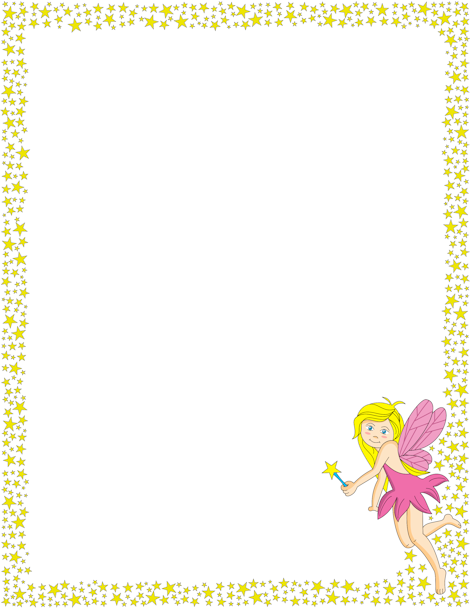 A printable page border with stars and a fairy. Free ...