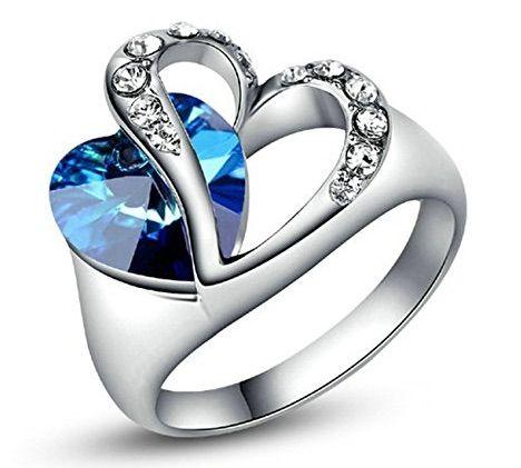 3cc16c8b793f Yoursfs Anillos mujer corazón Tres veces chapado en oro blanco 18 Kilates  joyas de compromiso
