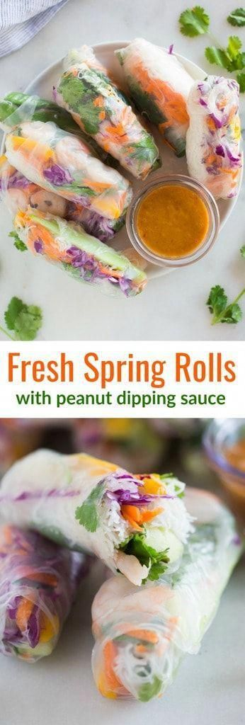 These Fresh Spring Rolls are even better than you'd find at a restaurant, and they're incredibly easy and healthy! Served with a delicious homemade peanut sauce, these rolls are perfect for a fresh and light lunch, dinner or appetizer. #springrolls #thai #vietnamese #healthy #easy via @betrfromscratch #freshrecipes