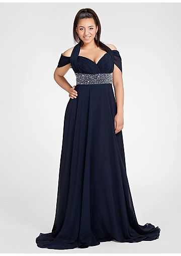 Off-the-shoulder Sweep Chiffon Bead Plus Size Prom Dresses/ Mother ...