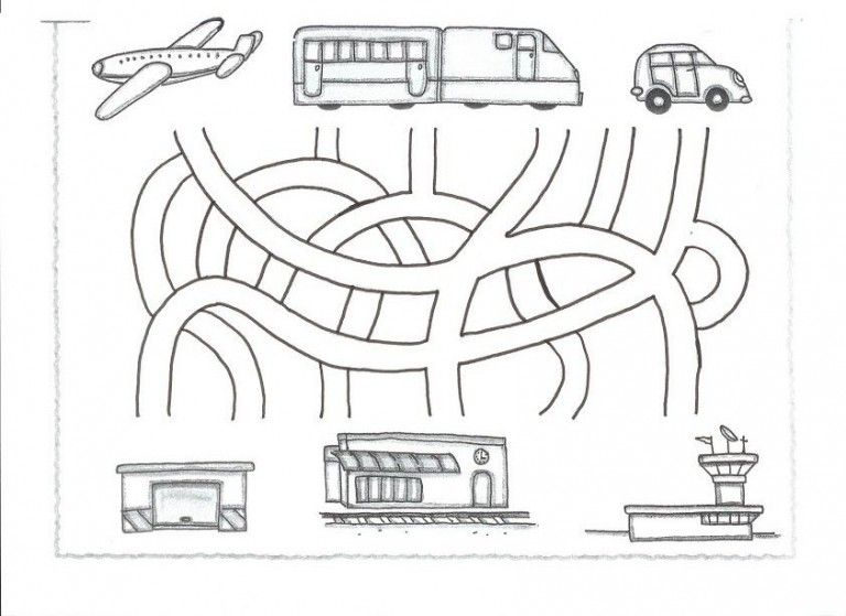 Transportation Maze Worksheet For Kids 1