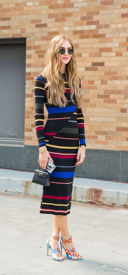 A long striped dress with statement heels
