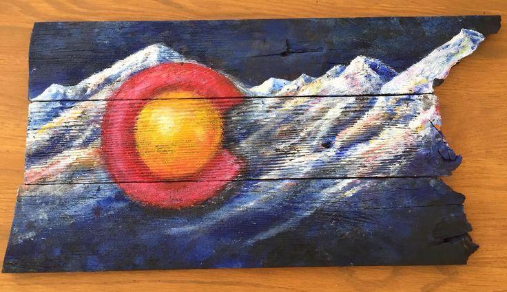 "Colorado flag acrylic on Wood 13""X26""   Colorado flag art ..."
