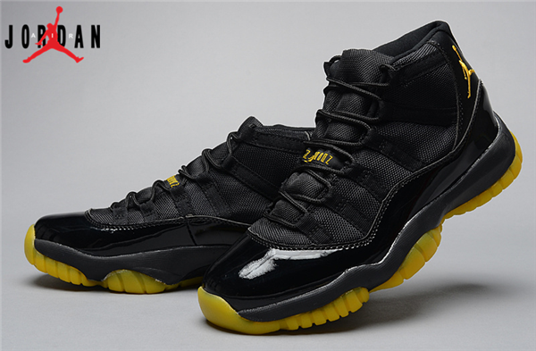 Men s Air Jordan 11 Retro Thunder Basketball Shoes Black Yellow ... 6cd6173e0