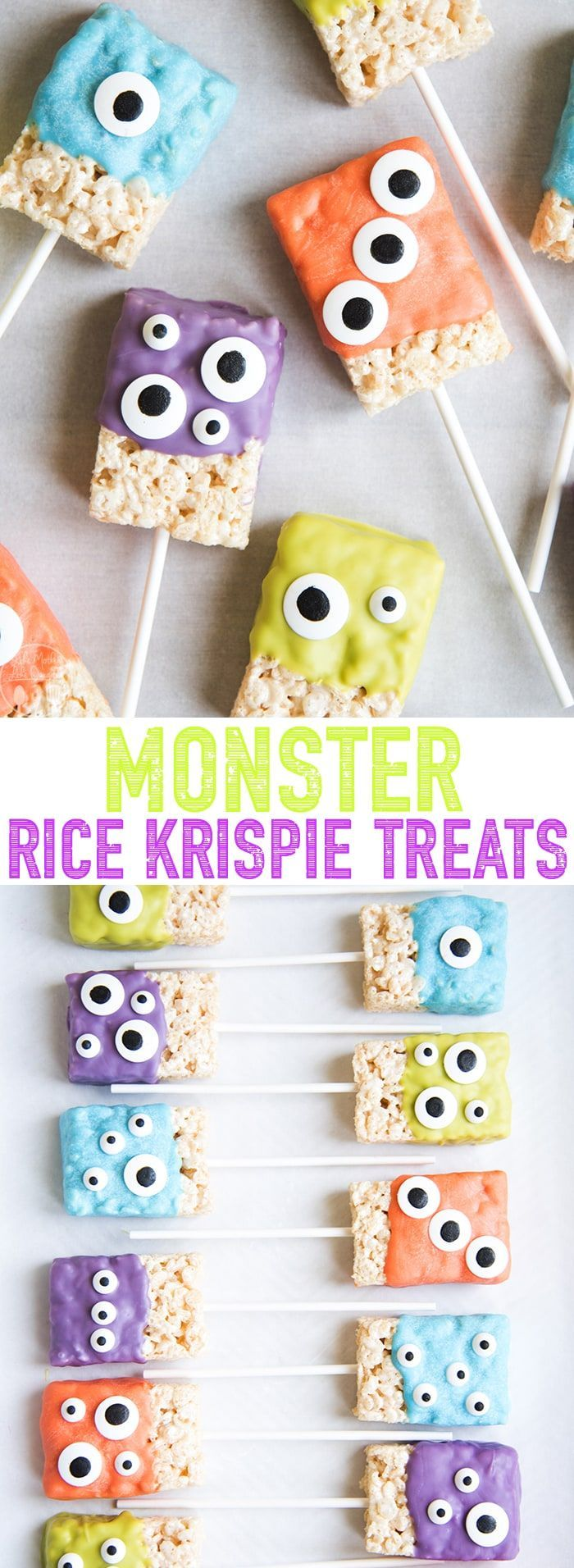These monster rice krispie treats are the such a cute and festive Halloween treat! Made with only 3 ingredients these Halloween rice krispie treats are so easy to make, and great for kids who love to help in the kitchen! #ricekrispiestreats