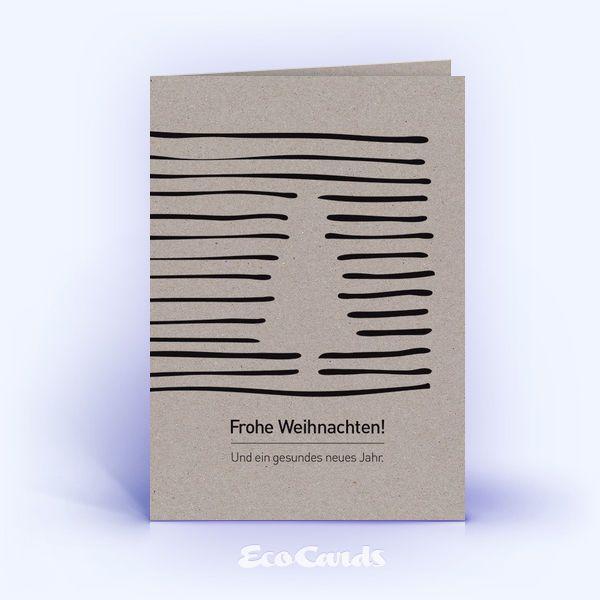 Öko Weihnachtskarten Nr. 203 grau mit Christbaum zeigen eine grafische Gestaltung. #1adventbilder