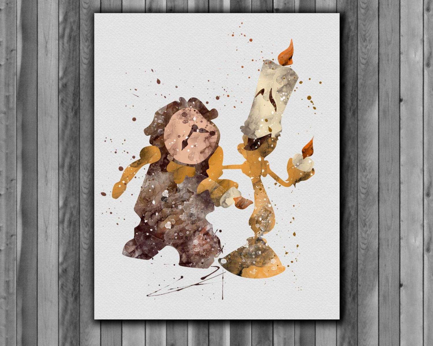 Lumiere And Cogsworth Beauty The Beast Printable Poster