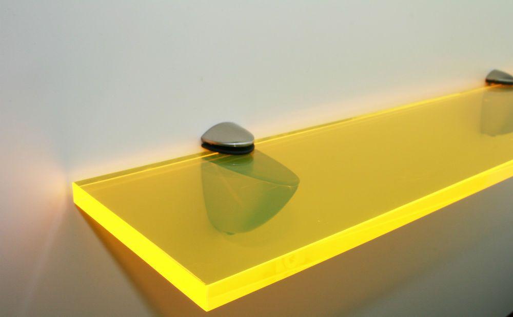 Acrylic Coloured Shelves Yellow Neon For Interiors Glass Shelves Yellow Shelving Contemporary Home Furniture