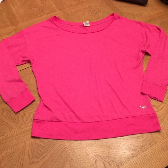 PRICE DROP! Pink Victoria's Secret quarter top Size small. Wide neck, could be worn off the shoulder. From Victoria's Secret pink. Very comfortable. Quarter length sleeves. Victoria's Secret Tops