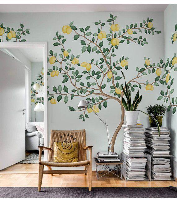 Abstract Watercolor Hand Painted Lemon Trees Wallpaper Wall Mural, American Countryside Style Lemon
