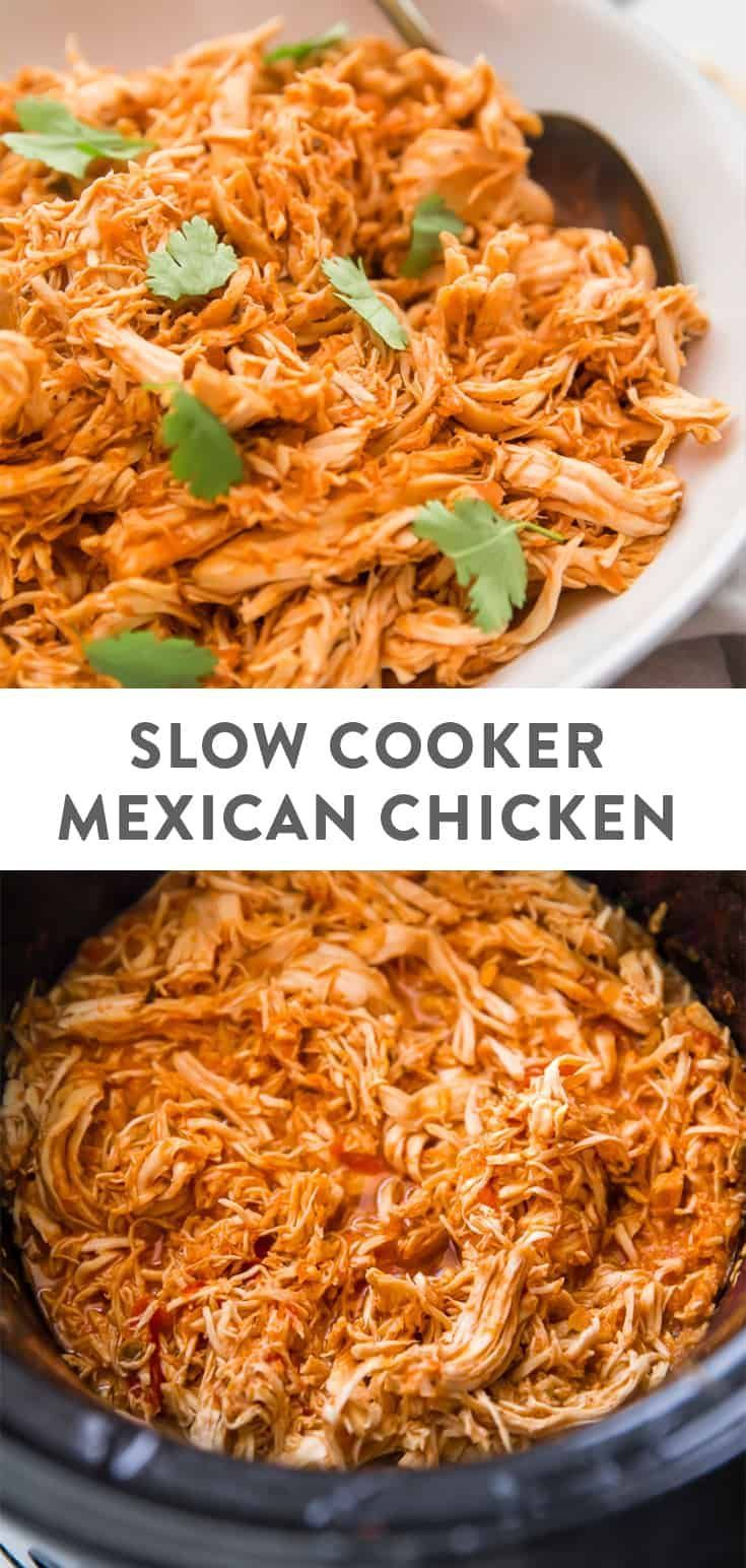 3 Ingredient Slow Cooker Mexican Shredded Chicken