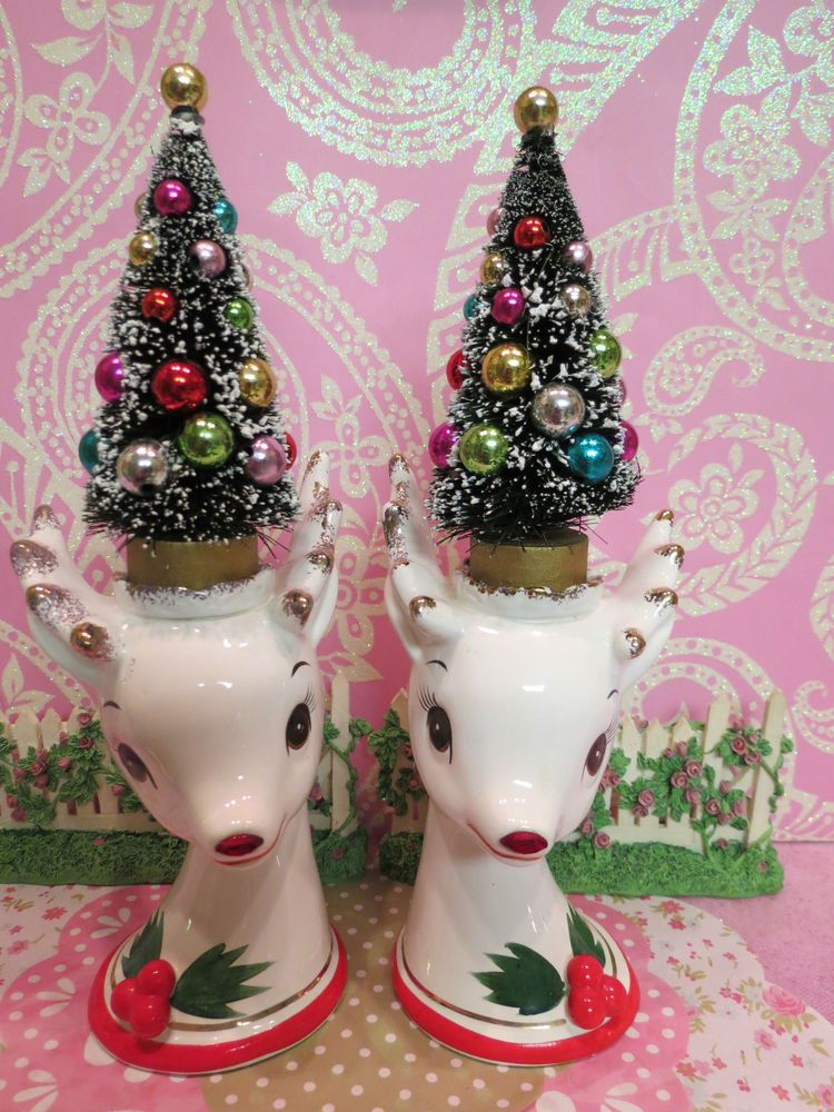 Vtg Christmas Holly Berry Reindeer Candle Holders W Bottle Brush