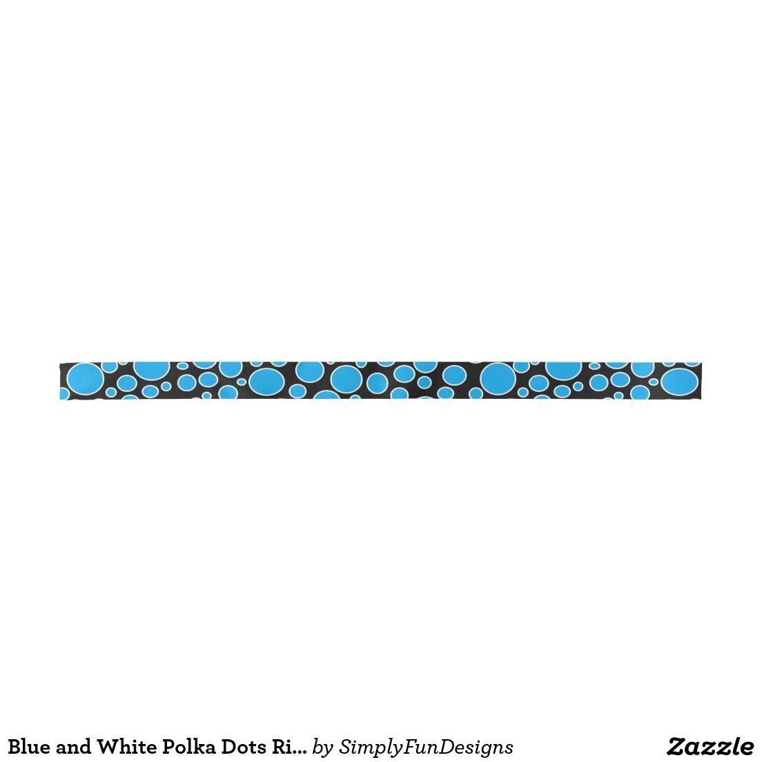 Blue and White Polka Dots Ribbon Satin Ribbon