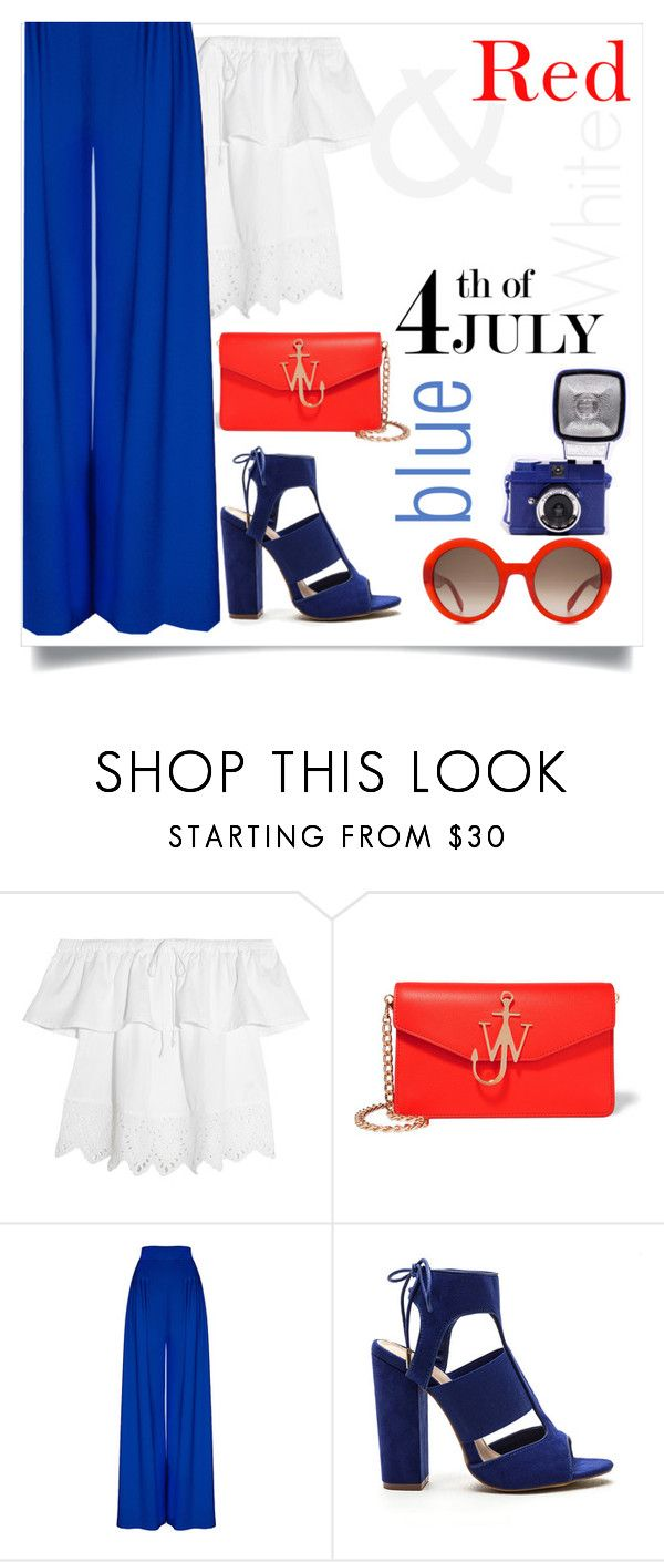 """""""Red white and blue"""" by namiqasmar ❤ liked on Polyvore featuring Madewell, J.W. Anderson, Alexander McQueen, redwhiteandblue and july4th"""