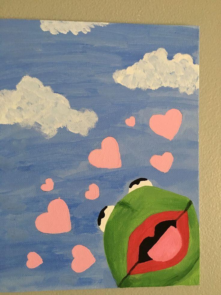 Kermit With Hearts Painting : kermit, hearts, painting, Leinwandgemälde