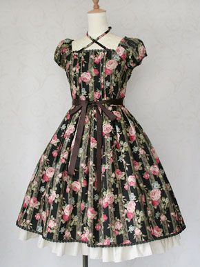 Lace Rose Ribbon Dress OP by Victorian Maiden