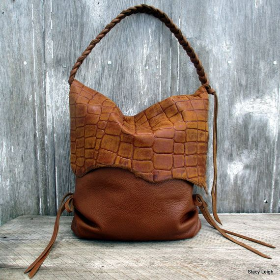 Leather Hobo Bag With Alligator Embossed Flap In Colorado Reserved For Sophia