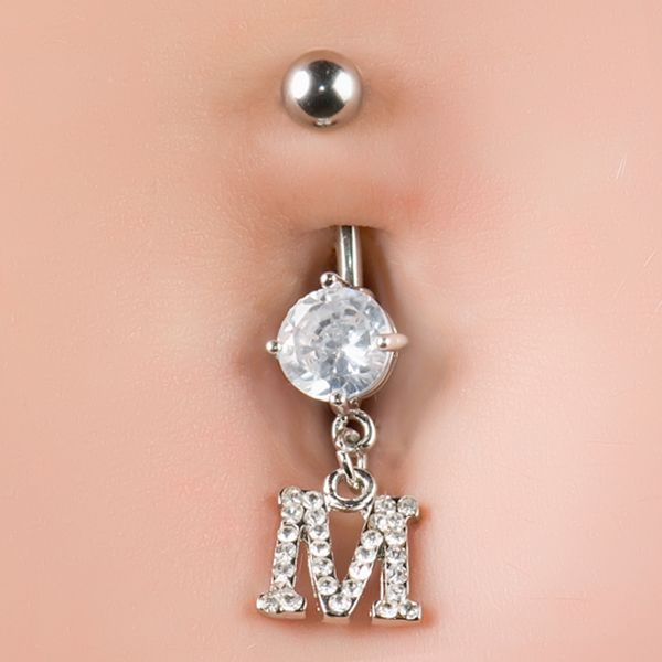 Cz Sparkling Initial M Dangle Belly Button Navel Piercing Ring 14g