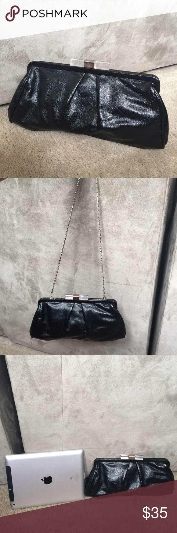 """Black Clutch cross body Lovely black clutch by Chinese Laundry. I believe it is faux leather and not real leather. Has a chain strap that allows it to be worn both as a clutch and as a cross-body or on the shoulder. Strap is approximately 18.5"""" long. Features a clear and silver clasp closure. Good used condition.  Good for casual or cocktail wear. Bags Crossbody Bags"""