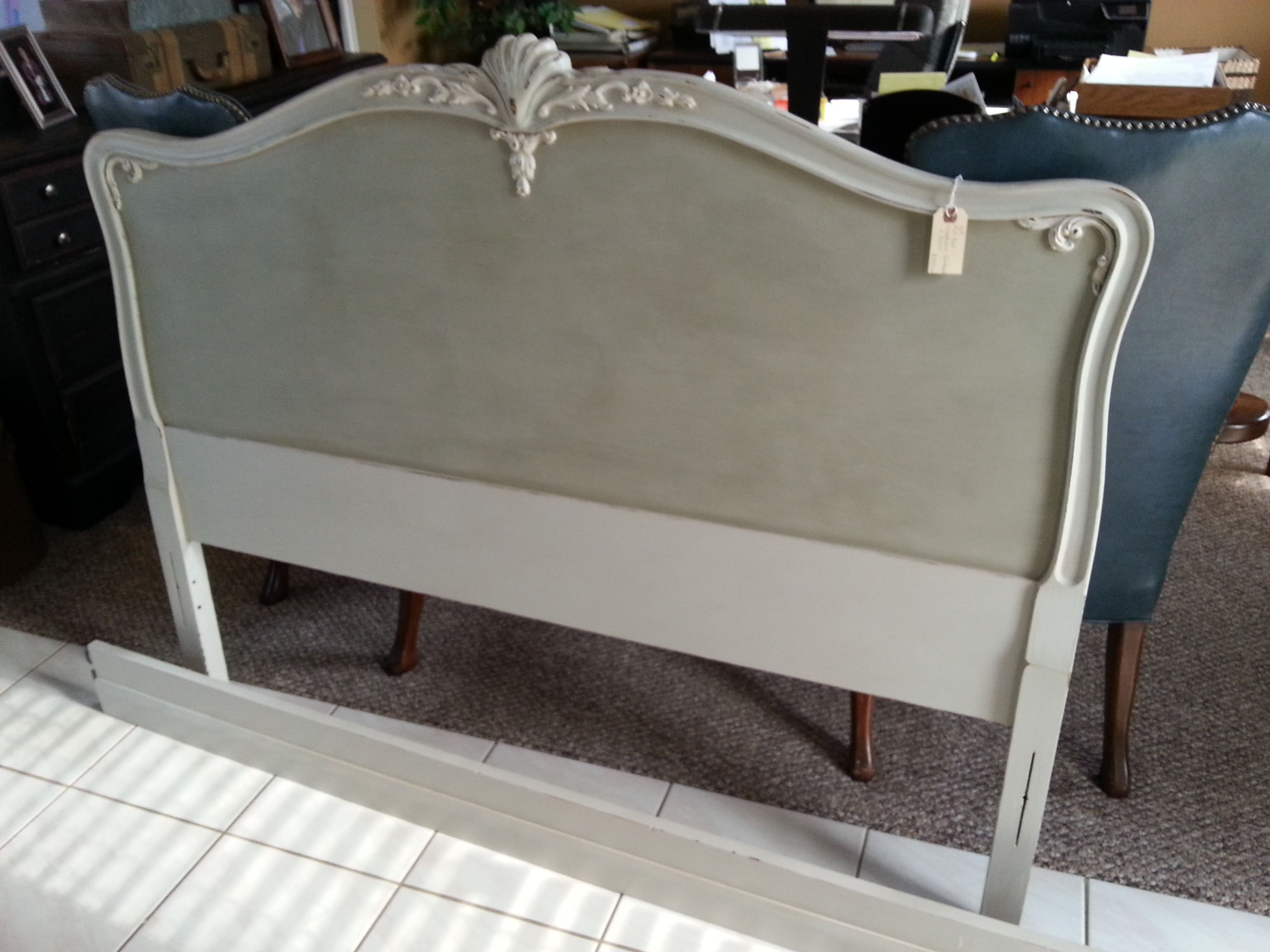 Headboard Of Full Bed Painted With Amy Howard Paint In