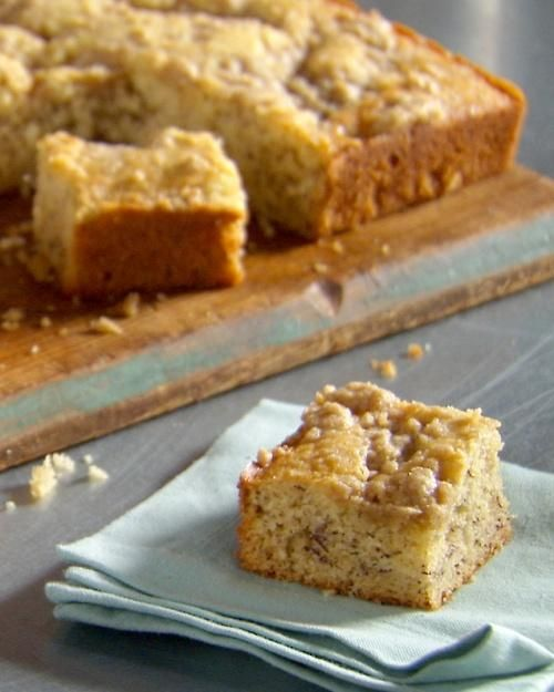 A crunchy brown sugar topping provides the perfect finish to this moist, sweet cake -- Banana Cake Recipe